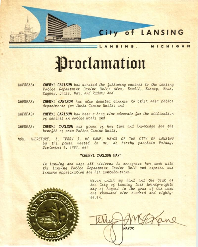 Proclamation of �Cheryl Carlson Day� in Lansing, Michigan on September 4, 1987