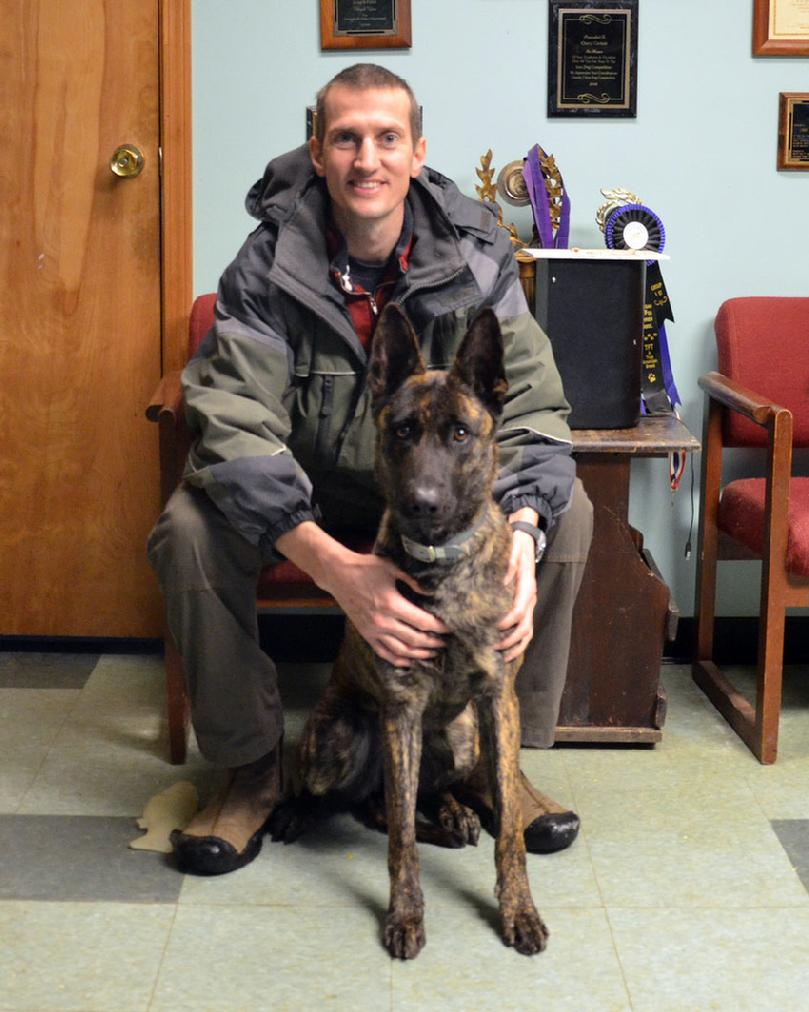 Orleans County Vermont Sheriff�s Department Deputy David Roos with his new PSD K9 Cher Car�s Torie